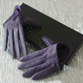 Fashion Women Genuine Leather Sheepskin Half Palm Short Gloves Size S - Purple