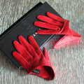 Fashion Women Genuine Leather Sheepskin Half Palm Short Gloves Size S - Red