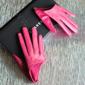 Fashion Women Genuine Leather Sheepskin Half Palm Short Gloves Size S - Rose