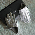 Fashion Women Genuine Leather Sheepskin Half Palm Short Gloves Size S - Silver