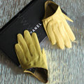 Fashion Women Genuine Leather Sheepskin Half Palm Short Gloves Size S - Yellow
