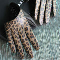 Fashion Women Leopard Genuine Leather Sheepskin Half Palm Short Gloves Size S - Brown