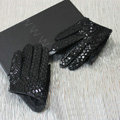 Fashion Women Peacock pattern Genuine Leather Sheepskin Half Palm Short Gloves Size S - Black