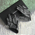 Fashion Women Snake pattern Genuine Leather Sheepskin Half Palm Short Gloves Size S - Black