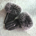 Fashion women winter warm thick fox fur cuff bars genuine sheepskin leather Gloves size L - Black
