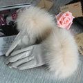 Fashion women winter warm thick fox fur cuff genuine sheepskin leather Gloves size L - Beige