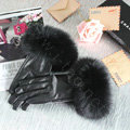 Fashion women winter warm thick fox fur cuff genuine sheepskin leather Gloves size L - Black