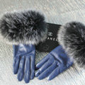 Fashion women winter warm thick fox fur cuff genuine sheepskin leather Gloves size L - Violet