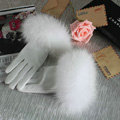 Fashion women winter warm thick fox fur cuff genuine sheepskin leather Gloves size L - White