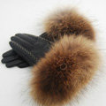 Fashion women winter warm thick raccoon fur cuff genuine sheepskin leather Gloves size L - Black