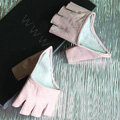 Women Genuine Leather Lambskin Runway Punk Rocker Biker Fingerless Half Short Gloves - Pink