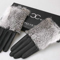 Women Rabbit fur Lambskin Winter Warm Genuine Sheepskin Leather Gloves Size L - Black