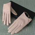 Women Short Lambskin Sheepskin Winter Warm Genuine Soft Leather Gloves Size L - Pink