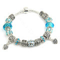925 Silver Charm Bracelets for Women Heart Blue Crystal Murano Glass Beads Jewelry