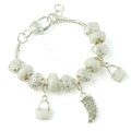 925 Silver Crystal Charm Bracelets for Women Snake Chain White Murano Glass Beads Jewelry