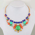 Exaggeration Women Choker Colored Gem Sunflower Crystal GP Bib Pendant Necklace Jewelry