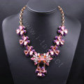Exaggeration Women Choker Crystal Gem Gold Plated Flower Bib Necklace Jewelry - Purple