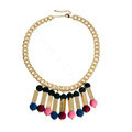 Exaggeration Women Choker Retro Pompons Alloy Gold Plated Bib Necklace Jewelry