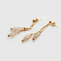 Luxury 18k Rose Gold Plated Drop Earrings Champagne Wire Zircon Crystal Female Fashion Jewelry