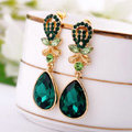 Luxury Crystal Green Gemstone Raindrop Stud Earrings Gold Plated Women Fashion Jewelry