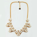 Luxury Crystal Shell Flower charm Pendant Choker Statement Necklace Women Jewelry - White