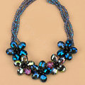 Luxury Exaggeration Women Choker Multilayer Crystal Bead Flower Bib Necklace Jewelry - Blue