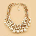 Luxury Exaggeration Women Choker Multilayer Crystal Pearl Bib Necklace Jewelry - Beige