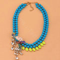 Luxury Exaggeration Women Choker Natural Gem Crystal Parrot Bib Necklace Jewelry - Blue