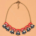 Luxury Fashion Women Exaggeration Choker Crystal Flower Retro Bib Necklace Jewelry - Red