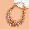 Luxury Women Choker Natural Pearl Crystal Bib Necklace Bride Wedding Jewelry - Pink