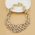 Luxury Women Choker Natural Pearl Crystal Bib Necklace Bride Wedding Jewelry - White