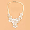 Luxury Women Exaggeration Choker Handwoven Natural Shell Pearl Flower Bib Necklace Jewelry - White