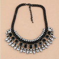 Retro Exaggeration Women Choker Crystal Gem Gold Plated Bib Necklace Jewelry - Black
