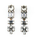 Retro White Crystal Leaves Stud Earrings Gold Plated Women Fashion Jewelry