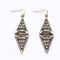 Retro White Crystal Rhombic Dangle Earrings Gold Plated Women Fashion Jewelry