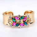 Women Retro Exaggeration Colored Gem Rhinestone Alloy GP Bracelet Jewelry - Gold