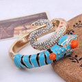 Women Retro Exaggeration Crystal Snake Alloy GP Bracelet Jewelry - Blue