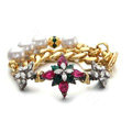 Women Retro Exaggeration Flower Crystal Pearl Chain Bracelet Jewelry - Gold