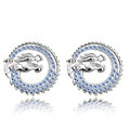 Classic Blue Swarovskii Crystal Zodiac Dragon Stud Earring for Woman Fashion Jewelry