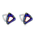 Classic Swarovskii Crystal Blue Rhinestone Triangle Stud Earring for Woman Fashion Jewelry