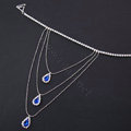 Elegant Multilayer Blue Raindrop Crystal Wedding Bridal Shoulder Chain Strap Shawl Necklace jewelry