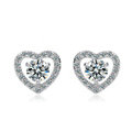 Hearts and arrows Zircon Crystal White Gold Plated Stud Earrings Women Luxury Lady Jewelry