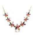 High Quality AAA Zircon Crystal Multicolor Flower 18K Rose Gold Plated Chain Necklace for Women