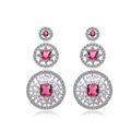 Hotsale White Gold Plated AAA Zircon Rose Rhinestone Drop Stud Earrings Fashion for Women Banquet