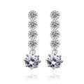 Hotsale long White Gold Plated AAA Zircon Sparkling Drop Stud Earrings Fashion for Women
