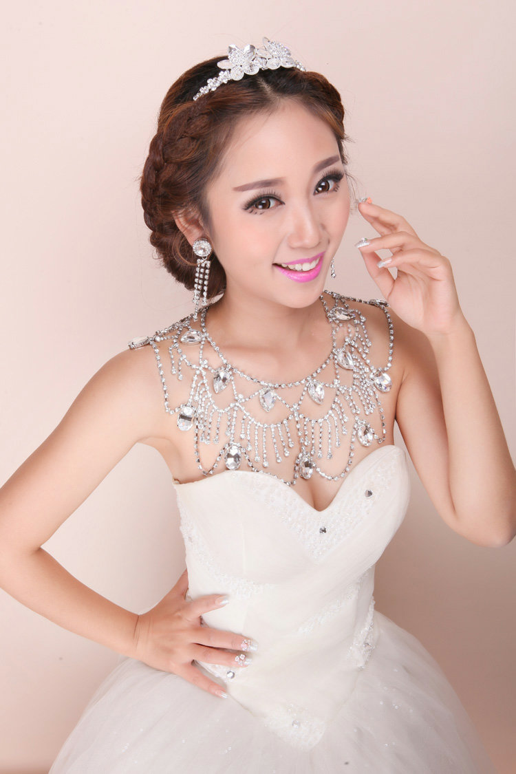 Buy wholesale luxury crystal raindrop tassel wedding for Back necklace for wedding dress