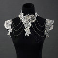 Luxury Crystal Lace Flower Pearl Wedding Bridal Shoulder Chain Strap Shawl Necklace jewelry