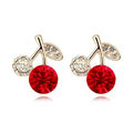 Newest Arrival Swarovskii Crystal Red Rhinestone Cherry Stud Earring Women Fashion Jewelry