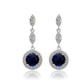Newest Blue Gem Swiss CZ Crystal White Gold Plated Drop Stud Earrings Women Elegant Jewelry