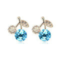 Newest Blue Swarovskii Crystal AAA Zircon Cherry Stud Earring Female Fashion Jewelry